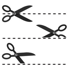 set of black scissors with cut lines isolated vector image