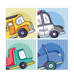 set of cartoons vehicles on frames vector image