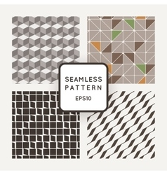 Set of four seamless geometric patterns vector image
