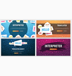 set of language translator banners with hand-draw vector image