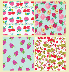 set of pattern with peach cherries and vector image