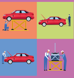 set of workers car factory vector image