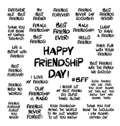 set quotes about about friendship lettering in vector image