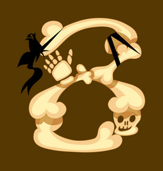 skeleton 8 eight made of bones vector image