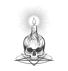 Skull and burning candle on pentagram vector