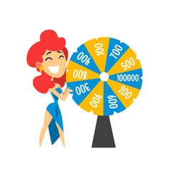 smiling anchorwoman spinning roulette wheel with vector image