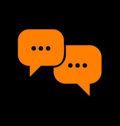 speech bubbles sign orange icon on black vector image
