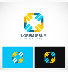 Square colored arrow point logo vector