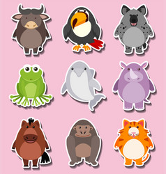 Sticker design with cute animal characters vector