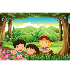 Three playful kids at the woods vector