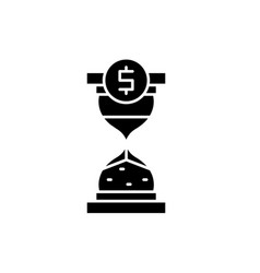time to invest black icon sign on isolated vector image
