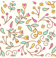 tiny line flowers seamless pattern with colorful vector image
