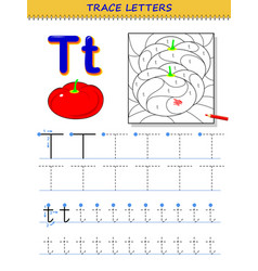 Tracing letter t for study alphabet printable vector