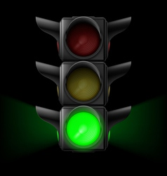 Traffic light with green on vector image