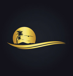 Tropic beach sunset travel gold logo vector