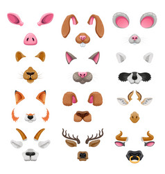 Video chat animal faces effects vector