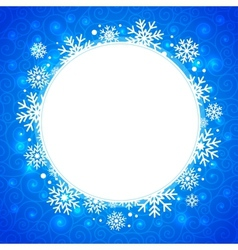 winter round frame with snowflakes and highlights vector image