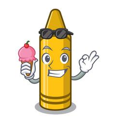 With ice cream yellow crayon in cartoon shape vector