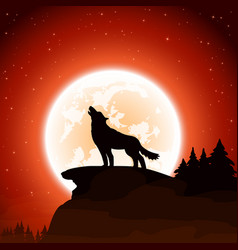 Wolf and moon on sky background vector