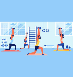 women in sportswear training with dumbbells in gym vector image
