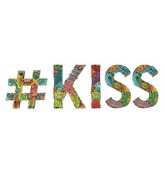 word kiss with hashtag decorative vector image