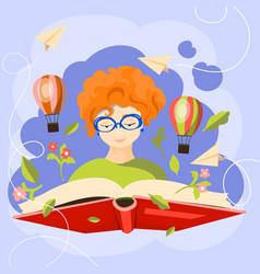 world book day cartoon design vector image