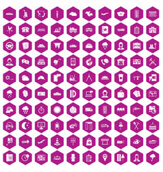 100 dispatcher icons hexagon violet vector