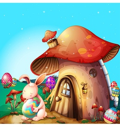 Easter eggs hidden near a mushroom-designed house vector image