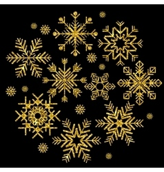 golden snowflakes set vector image