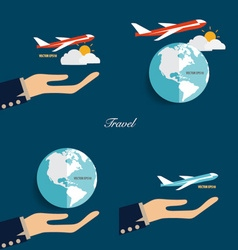Hands holding modern globe and plane vector image vector image