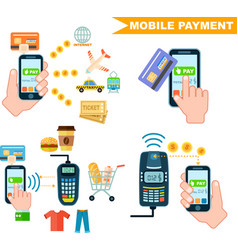 mobile payment set in flat design vector image vector image