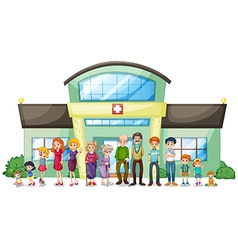A big family outside the hospital vector image vector image