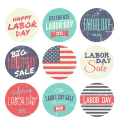 american labor day grunge stickers set vector image