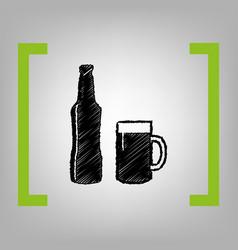 beer bottle sign black scribble icon in vector image