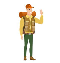 caucasian traveler showing victory gesture vector image vector image