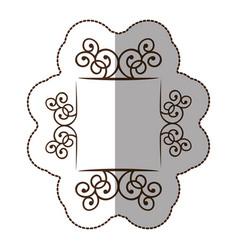 emblem metal decorative swirl icon vector image