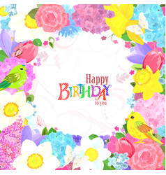fine floral frame with lovely flowers and cute vector image