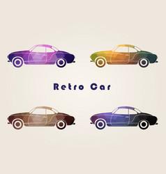 set of the retro multicolor car icons vector image