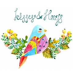 Watercolor beautiful bird and flowers vector image vector image