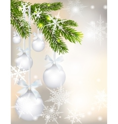 Five shiny glossy silver balls with bows and fir vector image vector image