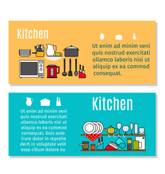 kitchen horizontal flyers in cartoon style vector image