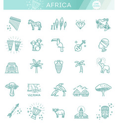 set of african ethnic style icons in flat style vector image vector image