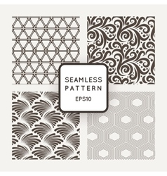 Set of four seamless patterns with plants vector image vector image