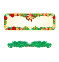 Banner Christmas Spruce and bow with pine cones vector image vector image
