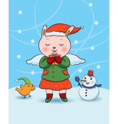 christmas bunny angel vector image vector image