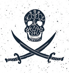 Jolly Roger Hand drawn of skull with swords vector image vector image
