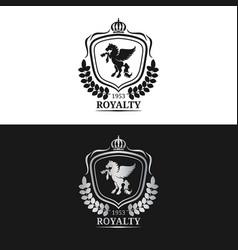 monogram logo template luxury pegasus vector image vector image