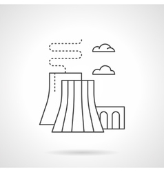 Thermal power station flat line icon vector image