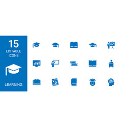15 learning icons vector image