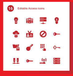 16 access icons vector image